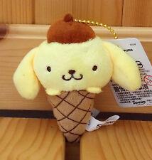"""Sanrio Pom Pom Purin 4"""" Plush Mascot W/Ball Chain  Ice Cream  Yellow Color"""