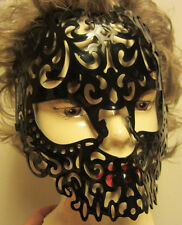 Black Mask Adult Size Costume Elastic Back Plastic Halloween NIP