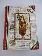 Book storage box hollow Christmas vintage Santa theme 6 by 8.5 inch store cards