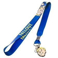 Official Bethesda Fallout Blue Lanyard ID Badge Necklace Pip Boy Head Face Charm