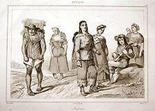 INDIANER AUS MEXIKO STAHLSTICH 1840 MEXICO INDIANS INDÍGENAS NATIVOS INDIOS