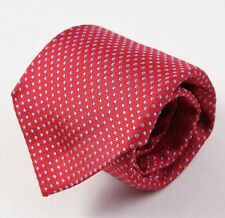 NWT $265 BATTISTI NAPOLI Hidden Pocket Silk Tie Red-Sky Blue Woven Pindot