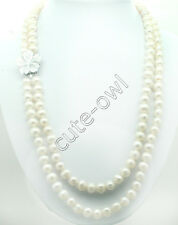 22-24inch 9-10mm White Akoya Cultured Pearl Necklace -carved shell flower clasp