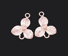 925 Sterling Silver Rose Gold Vermeil Style 2 Flower Connectors,Links .