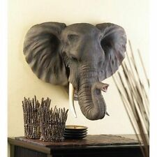 Elephant Head Bust Hanging Wall Mount Home Decor Collection Statue Figurine