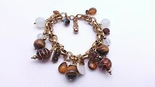 Joan Rivers Gold Tone  Brown Glass Bead Charm Bracelet