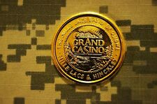 Grand Casino Collectors Coin Gold Plated Challenge Coin w/Clear Hard Case