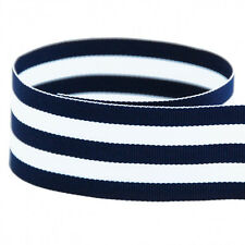 "5 yards 1.5"" Navy White Stripes Woven Grosgrain Ribbon"