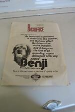 1974 Box Office Benji A Family Film By Joe Camp Book