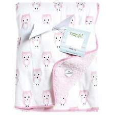 Lambs & Ivy Happi Night Owl Baby Girl Pink Reversible Mink Sherpa Blanket 30x40