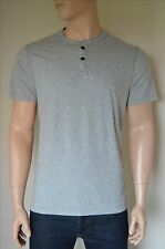 NEW Abercrombie & Fitch Classic Striped Henley T-Shirt Tee Grey XL