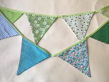 Bunting - Polka Floral Gingham Green Blue DBL Sided Beautifully Made 9ft