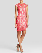 $368 Tadashi Shoji Embroidered pink rouge Illusion cap sleeve Sheath size 12