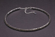 STRIKING SPARKLING SILVER TONE JEWEL CHOKER ADJUSTABLE LENGTH FLEXIBLE (CL28)