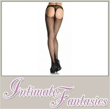 Sexy Open Back Black Fishnet Tights Suspender Halloween Fancy Dress Regular Size
