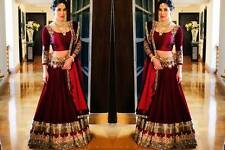 Actual Pics listed- Bollywood Indian PAkistani Maroon Embroidered Lehenga