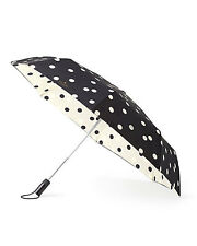 Kate Spade New York Travel Umbrella - Black/Cream Deco Dot - New