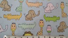 "Giraffe Elephant Lion Croc blue 100% cotton 44"" wide fabric by the yard (36"")"