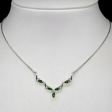 Silver 925 Marquise Faceted Natural Chrome Diopside Necklace 16.5 Inches