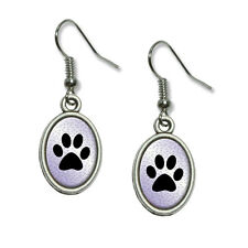 Paw Print of Awesomeness Purple - Novelty Dangling Drop Oval Charm Earrings