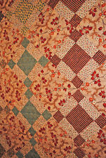 ANTIQUE QUILT 1840's NINE PATCH QUILT PIECED HAND SEWN ROLLER PRINTED COTTONS