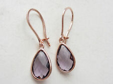 TURKISH AMETHYST  ROSE GOLD 925K STERLING SILVER HURREM SULTAN DROP EARRINGS