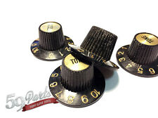 SET OF 4 AGED RELIC GIBSON WITCH HAT KNOBS BLACK/GOLD US SIZE 59 PARTS