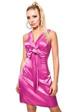 Satin Minikleid mit Deko Schleife Pink Gr. L