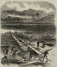 Union Pontoon Bridge Building Rappahannock River, Fredricksburg April 1863 Print