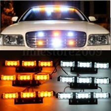 54 LED White/Amber Car Emergency Warning Strobe Grille Flashing Light Lamp Bars