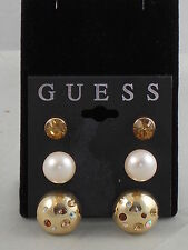 Guess Goldtone Button Faux Pearl Amber Rhinestone Stud Earrings Trio