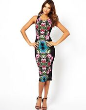 John Zack Midi Dress in Mirror Floral Print UK10/EU38/US6 zz5