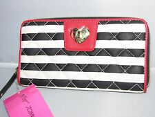 NWT $65 BETSEY JOHNSON zip around FAUX TURNLOCK Stripes red white & black wallet