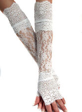 WHITE XX LONG LACE FINGERLESS GLOVES CUFFS ARM WARMERS