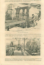 London carpentry circular saw Mortising machine Pulleys GRAVURE OLD PRINT 1859