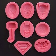 Superhero Batman Superman Hulk silicone molds for, clay, fondant. 8 pieces combo