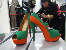 BNIB UK 3.5 Divine V. High Heel Emerald Green & Ruset Peep Toe Suede Shoes EU 36
