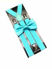 Teal Mint Green Suspenders and Bow Tie Matching Set Tuxedo Wedding Suit