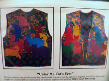 Crazy Cat Lover Vest 1990 Shirley Fowlkes Color Me Cats Pattern Lady S M L XL