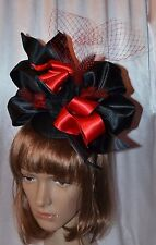 Handmade Fascinator - Hat / Derby, Preakness, Church, Black & Red / Unique
