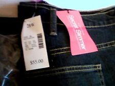 THIS IS FOR A PAIR OF WOMEN'S PLUS SIZE 28W LONG JEANS DARK BLUE 5 POCKET JEANS
