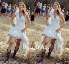 Vintage Lace Country Hippie Bridal Gowns V Neck Sheath Wedding Dresses 2017 New