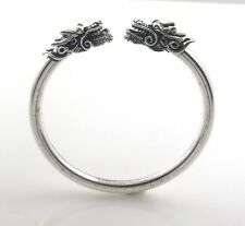 "6.5"" Naga Dragon Head 5mm 925 Sterling Silver Cuff Open Bracelet"
