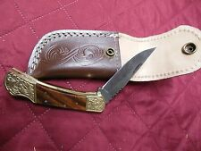 Damascus Steel Rose Wood Brass Bolster Scrimshaw LockBack Folder Knife Buck 110?