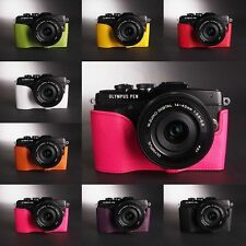 Handmade Real Leather Half Camera Case Bag Cover for Olympus EPL7 E-PL7 8 color