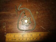 Antique Watch fob and chain with clip and T-bar . 10 in long chain