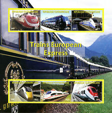 Central African Rep 2015 CTO Express High Speed Trains of Europe 6v M/S Stamps