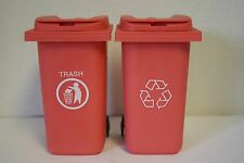 Pink Miniature Barbie Doll House Size RECYCLE & TRASH GARBAGE CAN FURNITURE