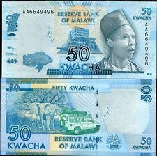 """MALAWI 50 KWACHA 2012 P 58 ELEPHANT PREFIX """"AA"""" UNC"""