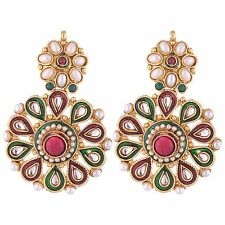 Shourya Exports 18K Maroon Green Kundan Pearl Meena Dangle Flower Earrings